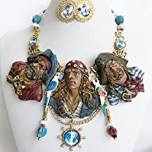 Swashbuckler Caribbean Pirates Sculpture Bib Necklace Earrings Hand Painted One of a Kind