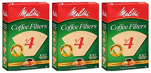 Melitta Cone Coffee Filters Natural Brown #4, 300 count, (3 Pack) ()