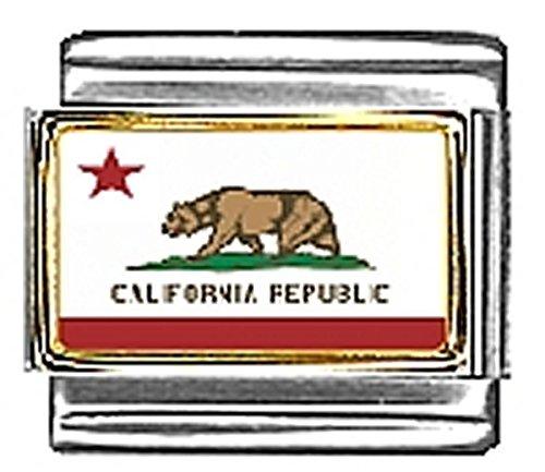 State of California Photo Flag Italian Charm Bracelet Jewelry Link 9mm ()