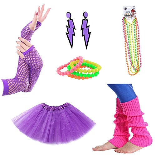 Neon Purple Tutu (80s Facny Outfit Costume Accessories,Neon Earrings,Neon Bracelets and Necklaces, Leg Warmers,Purple Fishnet Gloves,Purple Adult Tutu Skirt,Set of 6)