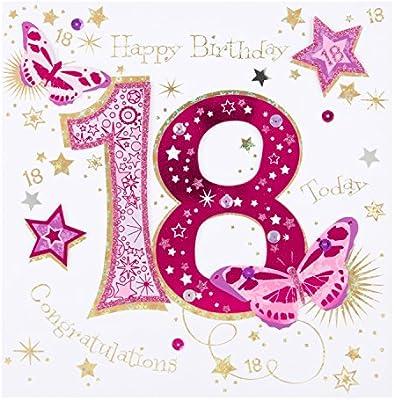 Tarjeta de felicitación de los 18 cumpleaños donde se lee ...