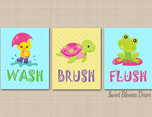 Frog Bathroom Wall Art,Duck Bathroom Wall Art,Sister Brother Bathroom Decor,Under the Sea Bathroom,Wash Brush Flush-UNFRAMED PRINTS (NOT CANVAS) - Ups Class Mail First Tracking