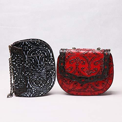Portable Et pour XRKZ à Simple à Relief en Femme Black Compact Noir Sac Black Bandoulière 17 Sac 21 Chaîne 7cm Main Rouge vwfwpx7qX