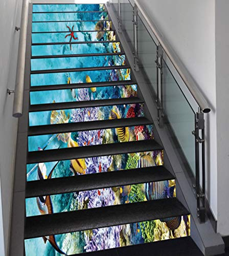 Stair Stickers Wall Stickers,13 PCS Self-adhesive,Ocean,Corals Fishes Jellyfish