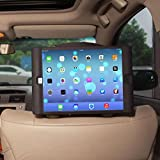 TFY Kids Car Headrest Mount Holder for iPad Air 2 - Detachable Lightweight Shockproof Anti-slip Soft Silicone Handle Case, Kids Security Hands-Free Headrest Travel Bracket Stand for Road Trip - Provide Entertainment for Kids - Black