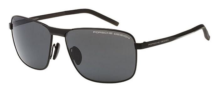 9917af80a94a NEW Porsche Design P 8643 Black Gray Rectangular Aviator Sunglasses   Amazon.co.uk  Clothing
