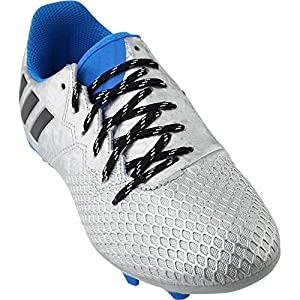 Adidas Performance Kids' Messi 16.3 Firm Ground Soccer Shoe (Little Kid/Big Kid), Silver Metallic/Black/Shock Blue, 2 M US Little Kid