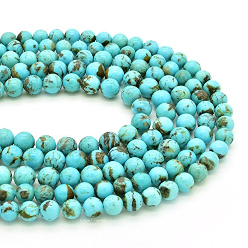 Bluejoy Genuine Natural American Turquoise Round Bead 16 inch Strand for Jewelry Making (6mm) ()