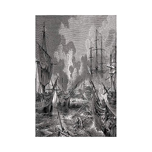 Polyester Garden Flag Outdoor Flag House Flag Banner,War Home Decor,Battle of Navarino Naval Armada Sinking Sailing Vessels War Portrait,Black and White,for Wedding Anniversary Home Outdoor Garden Dec