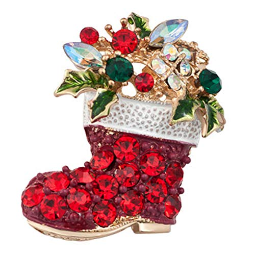 - Jesse Ortega X-mas Gifts Snowman Tree Red Socks Bells Christmas Brooch Pins (Red Socks)