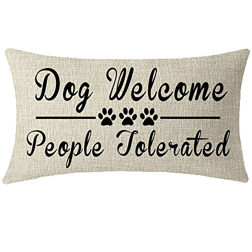 Nice Gift With Paw Prints Inspirational Quote Words Dog Welcome People Tolerated Waist Lumbar Throw pillow case Cushion cover pillowcase for Sofa home decorative Rectangular Long 12X 20 Inches (Dogs People Tolerated)