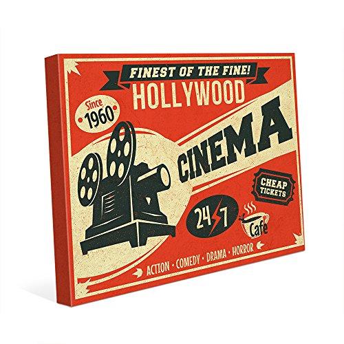 (Hollywood Cinema - Red Vintage Retro Nostalgic Indoor Sign Wall Art Print on)