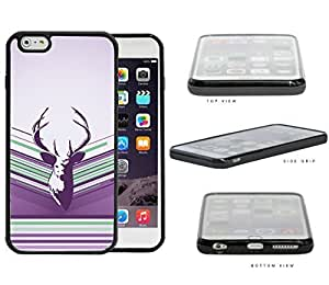 Purple Deer Buck Head Vector with Purple Lilac & Green Stripes iPhone 6 PLUS (5.5) INCH SCREEN Rubber Silicone TPU Cell Phone Case