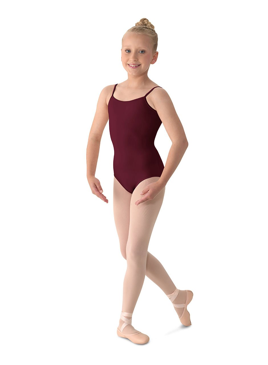 Mirella Girl's Classic V-Back Camisole Dance Leotard,Burgundy,14 by Mirella