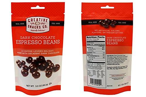 Creative Snacks Bag - Dark Chocolate, Pack of 12, 3.5oz (Espresso Beans)