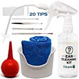 Ear Wax Removal Tool by Tilcare - Ear Irrigation Flushing System for Adults & Kids - Perfect Ear Cleaning Kit - Includes Basin, Syringe, Curette Kit (Spoon and Spiral), Towel and 20 Disposable Tips