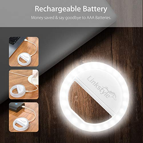 Selfie Ring Light Rechargeable, 36 LED Dimmable Clip on Selfie Light Portable for iPhone iPad Android Camera Phtography Video Make up White (1 Pack) by LinkStyle (Image #5)