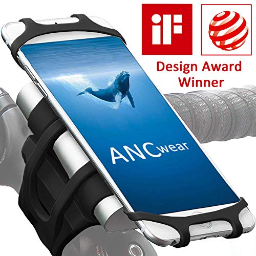 ANCwear Bike Motorcycle Phone Mount, 4-in-1 Portable Charger and Phone Holder, Adjustable Silicon Universal Fit Handlebars and Smart Phones Like iPhone Xs Max R X 8 Plus 7 Samsung