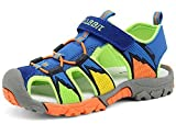 Zicoope Summer Anti Slip Closed-toe Velcro Strap Sport Toddler Sandals for Hiking/Running/Traveling Blue US Size 9 M