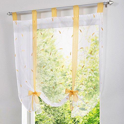(Heflashor Liftable Roman Shades Voile Sheer Window Screen Balloon Curtain Vertical Panel Drape Blinds 1 Panel)