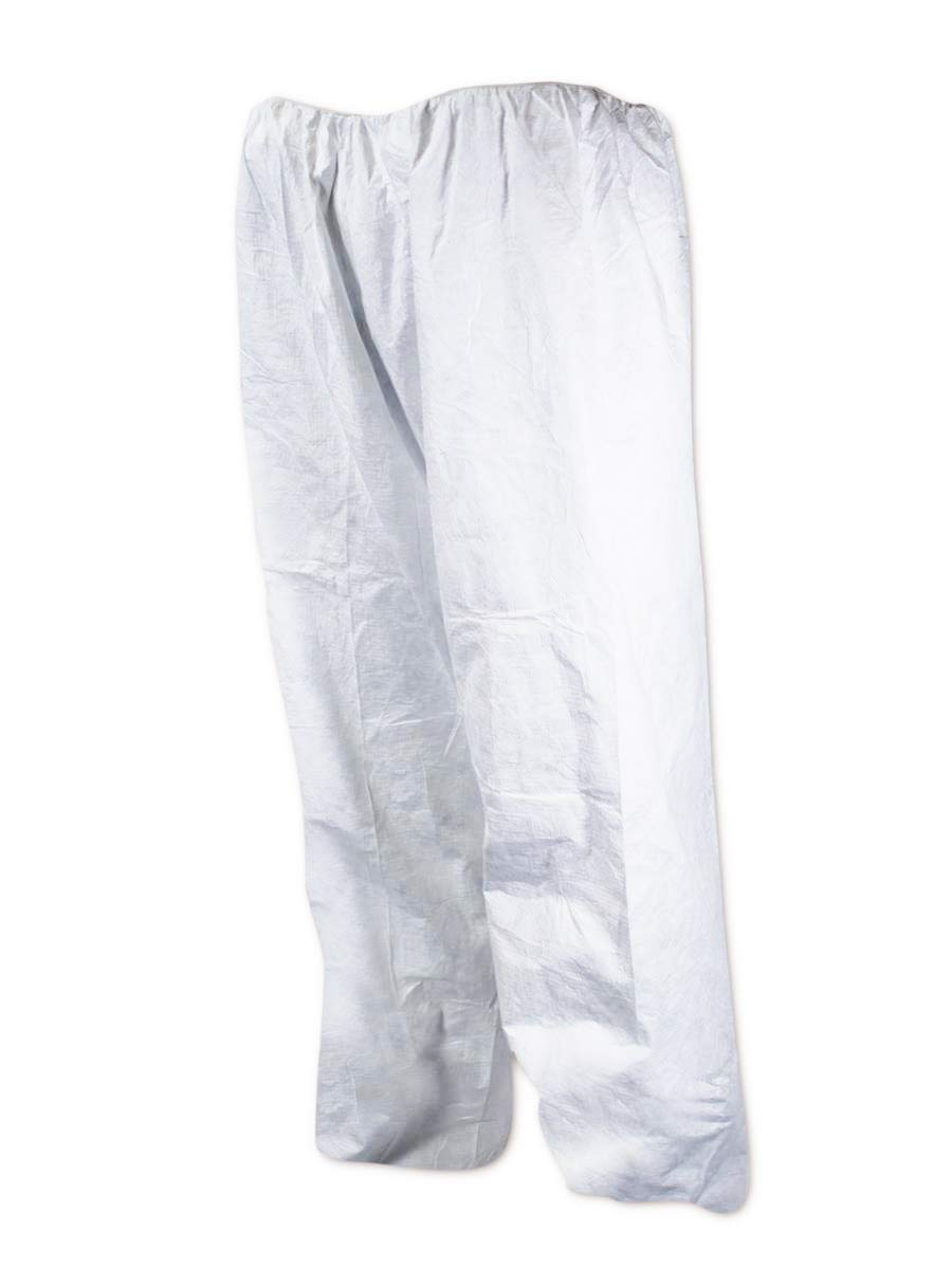 DuPont Tyvek Disposable Pants with Elastic Waist, Open Ankles, XL, White (Case of 50)