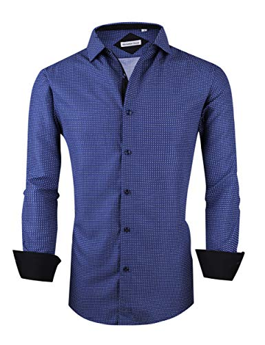 Mens Long Sleeve Printed Dress Shirts Casual Button Down Regular Fit Men Shirt (Long-blue02, XXL) ()