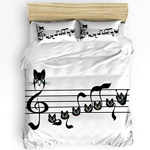 3Pieces Home Comforter Bedding Sets Notes Kittens Cat Artwork Notation Tune Children Halloween Style Pattern Bedspread Bed Sheet for Adult Kids,Flat Sheet,Pillow Shams Set King Size