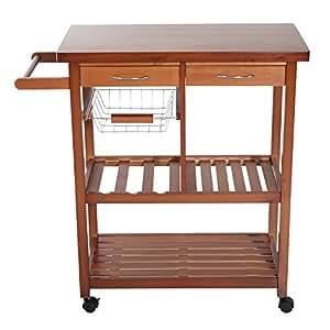 Carrito de cocina mesa servicio auxiliar madera y metal for Carrito de cocina con ruedas
