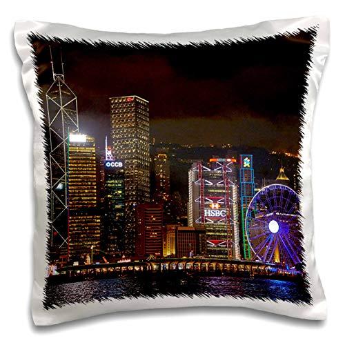 3dRose Danita Delimont - Hong Kong - Victoria Harbor, skyscrapers, Hong Kong Observation Wheel, Hong Kong. - 16x16 inch Pillow Case (pc_312676_1)