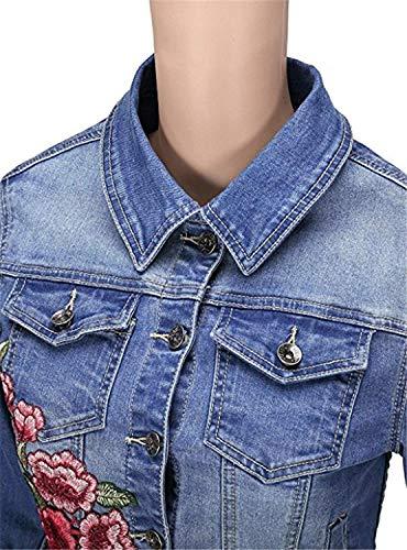 Grazioso Cappotto Autunno Vintage Bavero Primaverile Maniche Jeans Blu Giacche Donna Casual Caftano Stlie Lunghe Moda Ricamate Elegante Giacca Tendenza Streetwear Stile vnnPUZxqBp