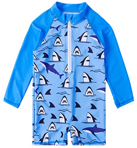 (Uideazone Kids Baby Boys Long Sleeve Rash Guard Swimwear One Piece UV Sun Protection Swimsuit Shark Printed Bathing Suits 18-24)
