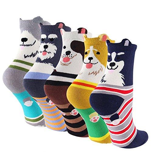 5 Pairs Womens Dog Cotton Sock Cute Cartoon Animals Crew Liner Socks (Cute Girl Cartoon Characters)