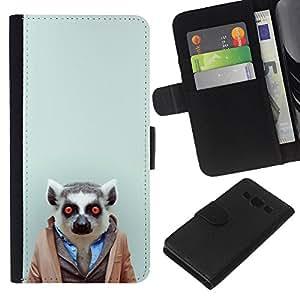 LECELL--Cuero de la tarjeta la carpeta del tirón Smartphone Slots Protección Holder For Samsung Galaxy A3 -- Hipster Leemur en el juego --