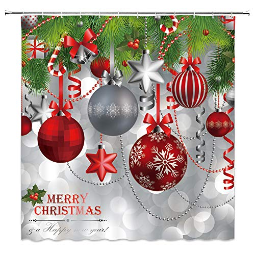 AMNYSF Merry Christmas Decor Shower Curtain Colorful Christmas Balls Hang on Pine Tree Happy Year Bathroom Curtains,70x70 Inch Waterproof Polyester Fabric with Hooks