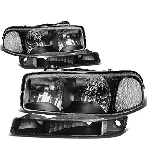For GMC Sierra/Yukon GMT800 4Pcs Black Housing Clear Corner Headlight+Bumper Light