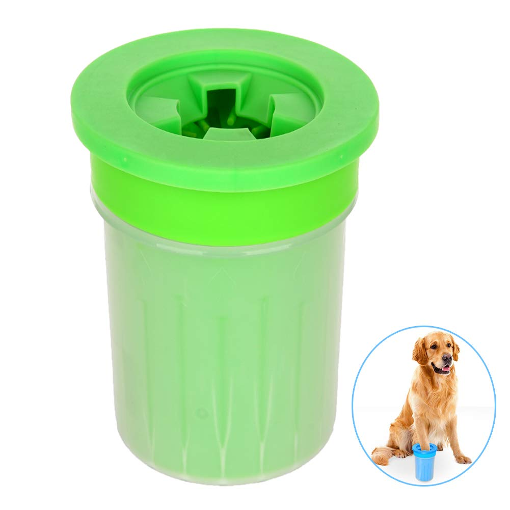 QZY Pet Dog Foot Cup Brush Washing Artifact,Cat Cleaning Tool Soft Plastic Claw Foot Cleaning Cup,Durable Playable Bite, Pet Toy,Anti-Fall-Side Wall-Leakage,Green,M