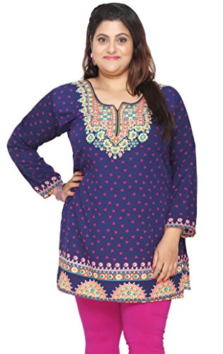 Women's Plus Size Indian Kurtis Tunic Top Printed India Clothing – L…Bust 40 inches, Blue