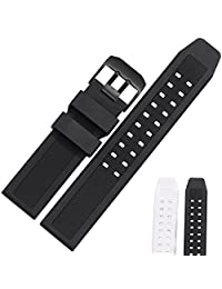 MSTRE GJ17 23mm Quick Release Silicone Watch Bands Luminox Replacement Watch Strap Black Buckle (23mm, BBlack)