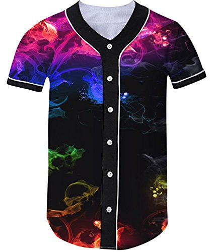phic Smoke Baseball T-Shirt Collar Short Sleeve Sports Jersey Hip Hop Tee M ()