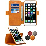 iPhone 8 Plus Leather Wallet Case with Detachable SlimCase,iPhone 7 Plus Genuine Leather Folio Flip Case Cover with Credit Card ID Holders,Business Style Case Cover for Apple iPhone 6 Plus,Camel