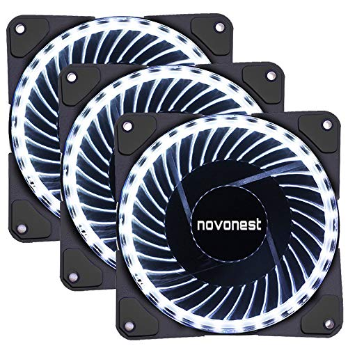 upHere- 120mm Sleeve Bearing 3-Pin 32 White LED Silent Fan for Computer Cases, CPU Coolers, and Radiators-White,32W3-3