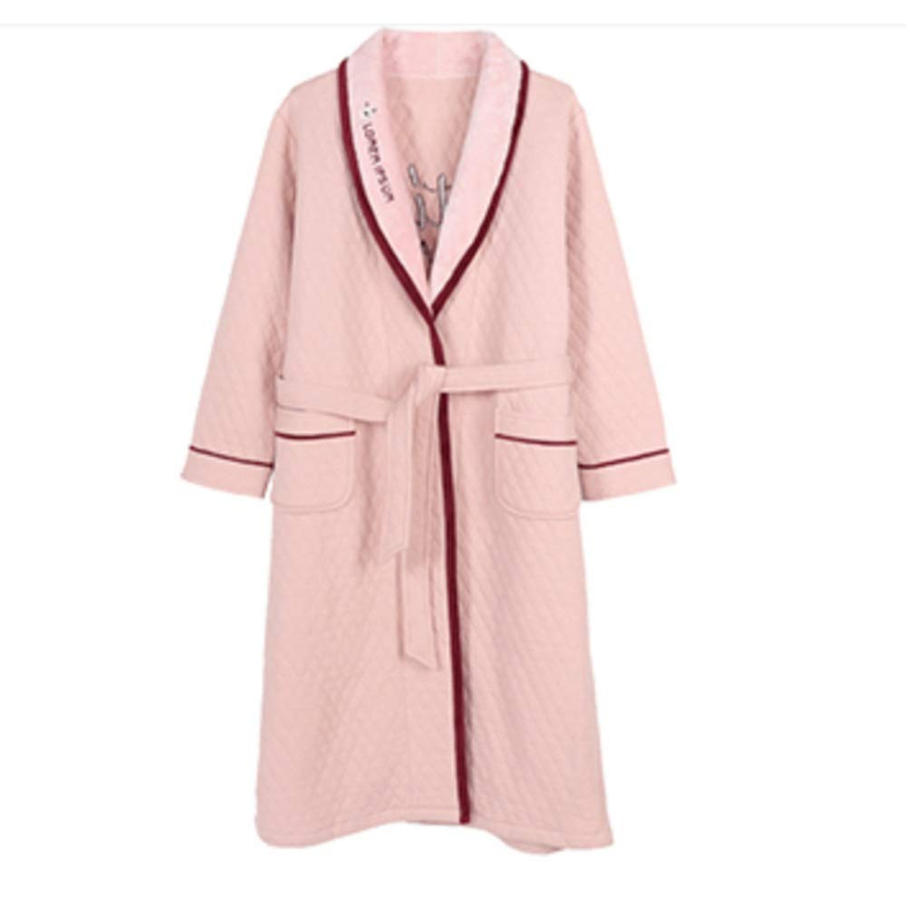 PINK NAN Liang Unisex Cotton Luxury Bathrobe Warm Soft & Cosy Towelling Robe Housecoat with Full 3 Soft (color   Pink, Size   L)