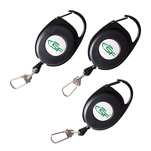 SF Fly Fishing Stainless steel Cord Zinger Retractor (Carabiner)