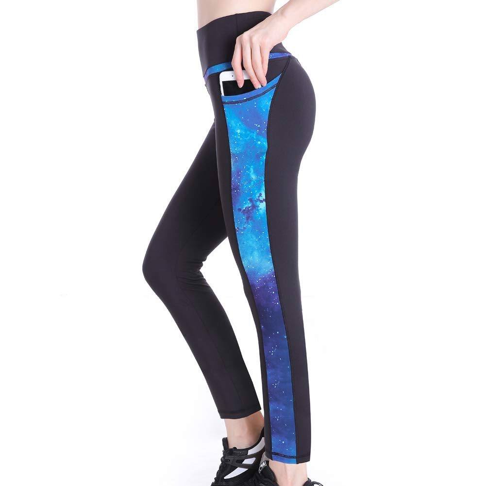 Picotee Women's Yoga Pants Workout Capri Leggings Running Long Tights w Side Pocket(Small, Long Pants-Blue Starry)
