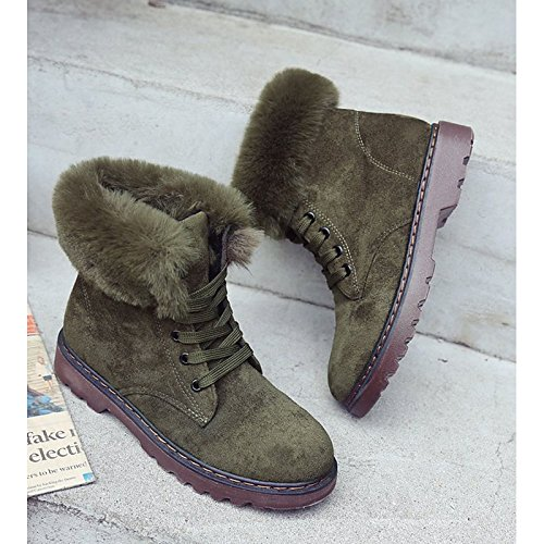 Round ZHZNVX Boots Comfort Null Green Calf Shoes Black Toe Heel HSXZ Khaki Boots Women's for Winter Black Casual Mid PU Fall Chunky rZrPYxq