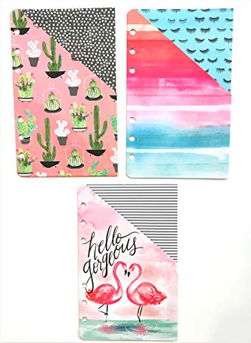 Watercolor Pocket Folders for 6 Ring Small Planner, 3 Pcs ()