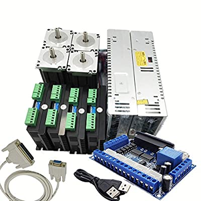 4 Axis Stepper Motor Drive Kit 1.8° Nema 34+800W AC Power Supply