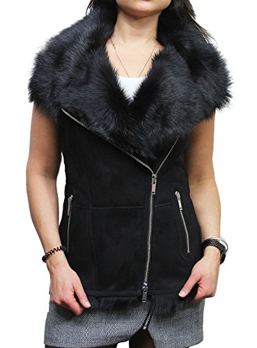 Black Leather Merino Shearling Jacket - Brandslock Womens Black Real Suede Luxurious Toscana Spanish Merino Fur Shearling Soft Sheepskin Leather Gilet Tailored Fit (3XL, Black)