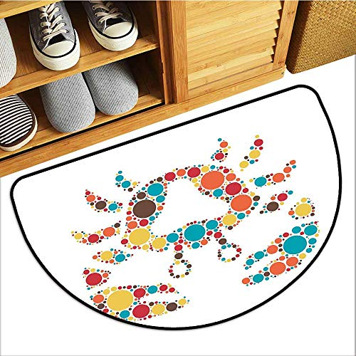 (TableCovers&Home Low-Profile Mat, Crabs Non-Slip Rugs for Kids Room, Abstract Shape of a Sea Creature Decapod Crustacean with Big and Small Colorful Dots (Multicolor, H24 x D36 Semicircle))