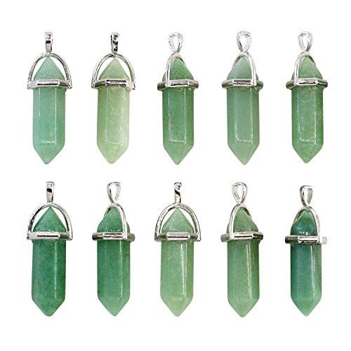 (Wholesale 10PCS Genuine Green Aventurine Stone Healing Point Reiki Chakra Pendants Bulk for Jewelry Making)